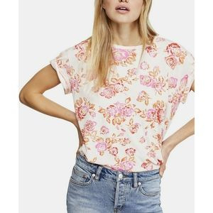 Free People M Blush Combo Floral Tourist Tee NWT